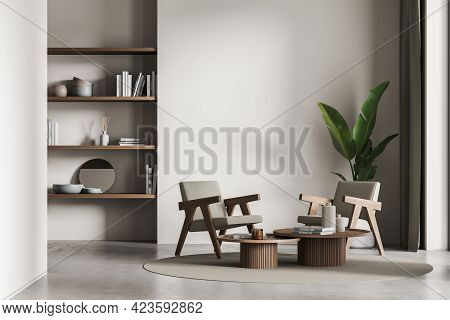 Living Room Interior With Two Armchairs And Rack With Art Decoration, Carpet On Concrete Floor. Plan