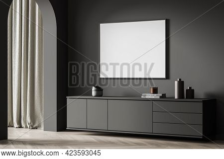 Living Room Interior With Black Wooden Drawer With Books And Ceramic Decoration, Parquet Floor, Arch