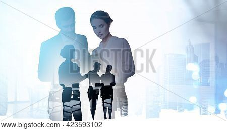 Businessman And Businesswoman In Office Clothes Analysing Business Files, Double Exposure With Offic