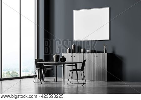 Modern Living Room Interior With Two Seats On Concrete Floor, Side View, Drawer With Window On Count