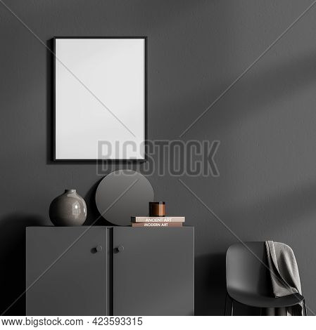 Art Room Interior With Black Wooden Drawer And Armchair, Vase With Books, Minimalist Decoration In R