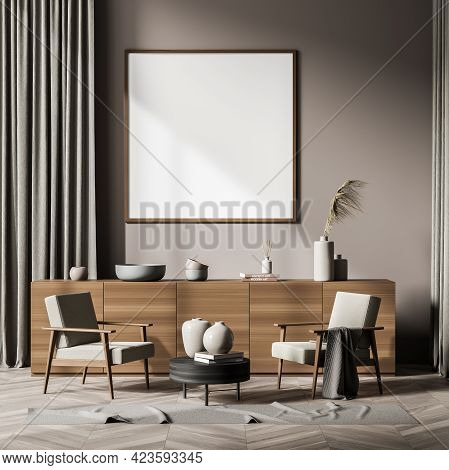 Relaxing Room Interior With Wooden Commode And Two Armchairs, Coffee Table With Decoration On Parque