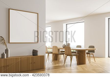 Light Kitchen Room Interior With Wooden Dining Table And Chairs, Parquet Floor. Panoramic Window Wit