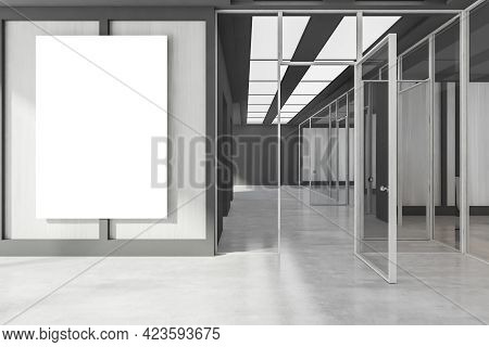 Office Hall Interior With Grey Floor, One Mockup Canvas Banner On White Wooden Wall. Office Room Wit
