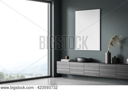 Exhibition Art Room Interior With Black Wooden Commode Near Panoramic Window, Side View, Books And V