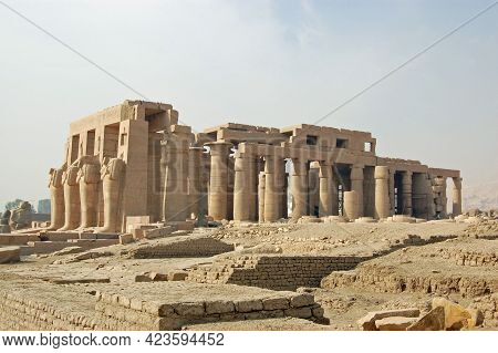 Ruins Of The Huge Ramasseum Temple, Built In Honour Of The Great Ancient Egyptian Pharaoh Ramses Ii