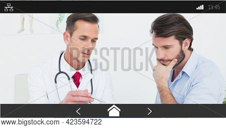 Composition of male doctor talking to patient on digital image interface screen. medical and healthcare services communication digital interface concept digitally generated image.