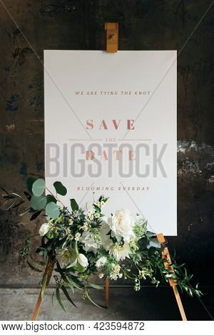 Wedding poster mockup with beautiful white flowers