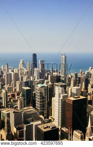 Panorama Of Chicago From The Height Near Lake Michigan, Skyscrapers In Illinois Usa