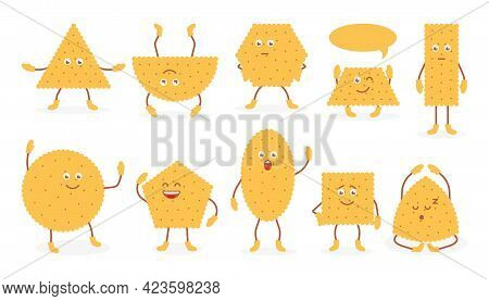 Cute Funny Emoji Wheat Biscuit Icons Set. Doodle Breakfast Snack, Cracker In Flat Cartoon Style. Tas
