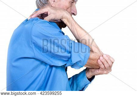 Elderly Man Suffering From Aching Bones.  Male Hand Holding Elbow. Isolated On White Background