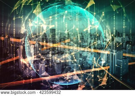 Smart City Technology With Futuristic Graphic Of Digital Data Transfer . Concept Of Computer Interne