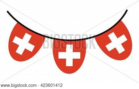 Switzerland Flag. Garland On A Thread, A White Cross On A Red Background. Country Symbol Isolated Ve