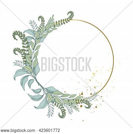 Elegant Frame Of Forest Green Leaves And Fern, Round Wreath Of Plants. Green Bouquet And Gold Frame