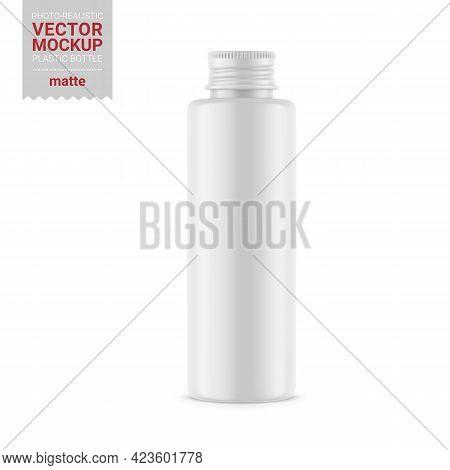 White Matte Plastic Bottle Mockup. Vector Illustration.