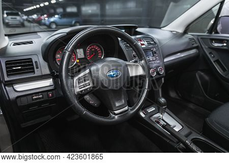 Novosibirsk, Russia - June 08, 2021: Subaru Forester, Steering Wheel , Dashboard With Speedometer, T
