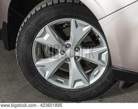 Novosibirsk, Russia - June 08, 2021: Subaru Forester, Car Wheel On Gray  Car - Close Up