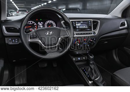 Novosibirsk, Russia - June 08, 2021: Hyundai Solaris, Steering Wheel, Shift Lever, Multimedia  Syste
