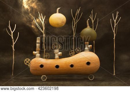 Surreal Pumpkin With Clockwork Parts And Pieces Of Iron