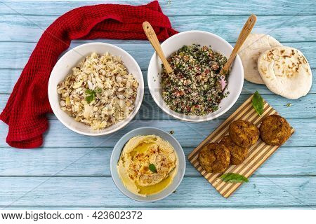 Assorted Of Lebanese Dish, Traditional Food, Healthy Food