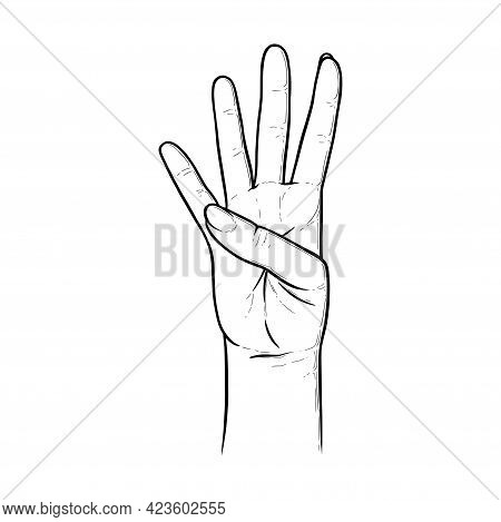Four Raised Fingers. Fingers Showing Number Four To Express The Quantity. Sketch Vector Illustration