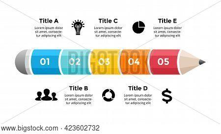Pencil Infographic. Educational 3d Concept. 5 Options Diagram. Vector Slide Template. Creative Color