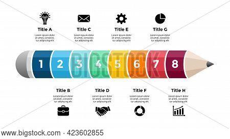 Pencil Infographic. Educational 3d Concept. Eight Options Diagram. Vector Slide Template. Creative C