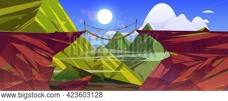 Suspended Bridge Hang Above Steep Mountain Cliff, Green Rocky Landscape Background. Beautiful Scener