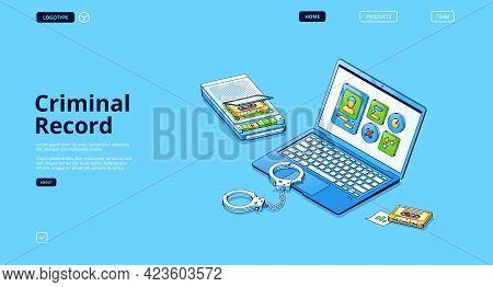 Criminal Record Isometric Landing Page, Detective Investigation Digital Concept, Police File On Lapt