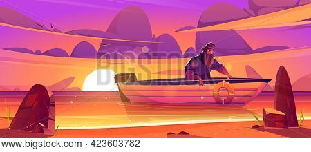 Shipwrecked Sad Man Sit In Wooden Boat At Sunset Scenery Landscape. Castaway Male Character Escaping