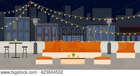 Flat Vector Illustration Of Rooftop Terrace Bar Lounge At Night With Cozy Warm Couches And Chairs On