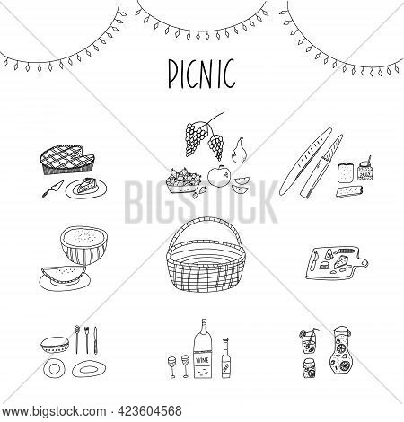 Hand Drawn Stylized Vector Illustration Of Picnic Party Essentials Basket, Picnic Table, Snacks, Win