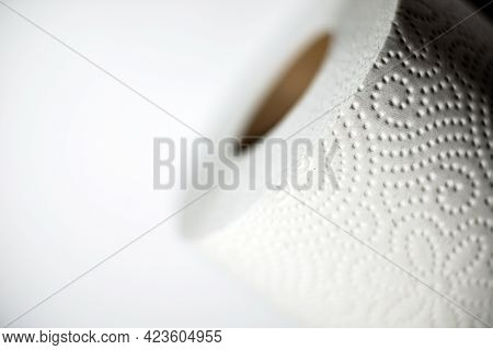 Tissue Roll In Top View.texture Of White Tissue Paper Background With Crease, Closeup Detail Of Whit