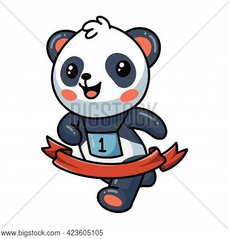 Vector Illustration Of Panda Run To The Finish Ribbon Line Marathon