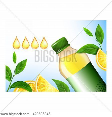 Vitamin Drink Creative Promotional Banner Vector. Sports Drink Blank Bottle, Mint Green Leaves And O