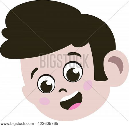 Cute Kid Face. Cute And Adorable Caucasian Kid With Brunette Hair. Cute Face With Innocent Expressio