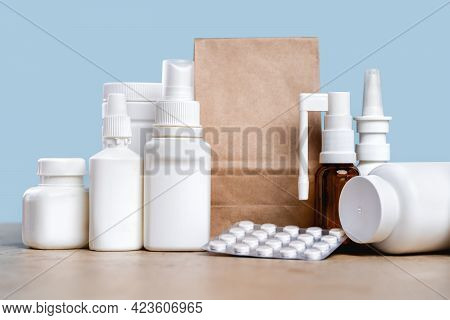 Online Pharmacy. Prescription Drugs And Over The Counter Medication Ready For Delivery To Customers.