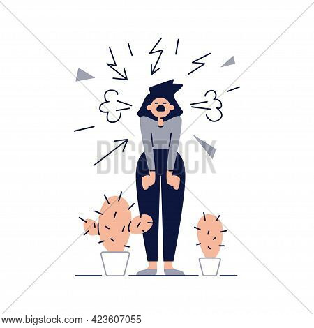 Stress, Pressure, Panic Vector Illustration. Screaming Woman Is Under Stress. Emotional Overload Sce