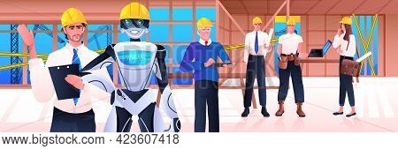 Robot And Workmen Engineers In Hardhats Standing On Construction Site Artificial Intelligence Techno