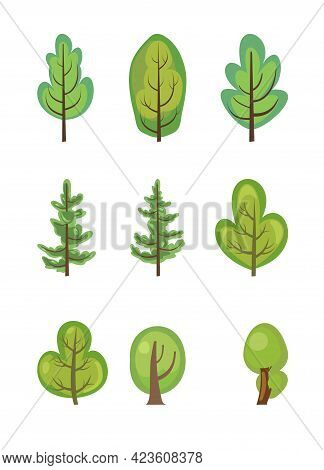 Flat Forest. Set With Trees. Illustration In A Simple Symbolic Style. Pine. Objects For A Funny Gree