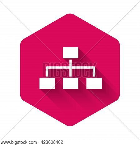 White Business Hierarchy Organogram Chart Infographics Icon Isolated With Long Shadow. Corporate Org