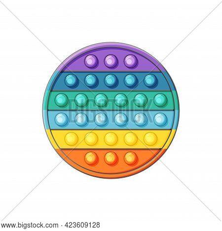 Silicone Toy Pop It On A White Background. Circle. Anti-stress Toys Fidget Sensory. Vector Illustrat