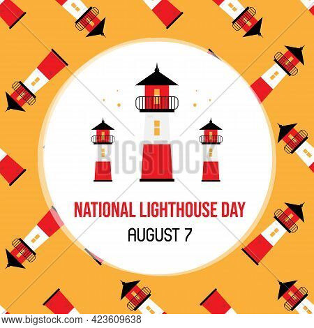 National Lighthouse Day Greeting Card, Vector Illustration With Cute Cartoon Style Lighthouse Towers
