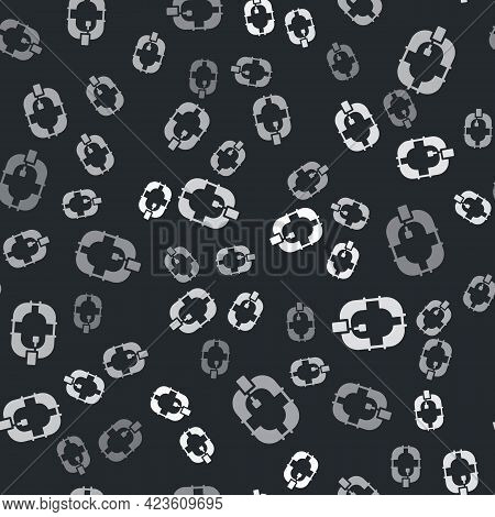 Grey Inflatable Boat Icon Isolated Seamless Pattern On Black Background. Rafting Boat. Water Sports,