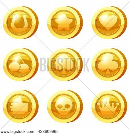 Set Of Golden Coins For Game Apps. Gold Icons Star, Heart, Card Suits, Crown, Cherry, Symbols Game U