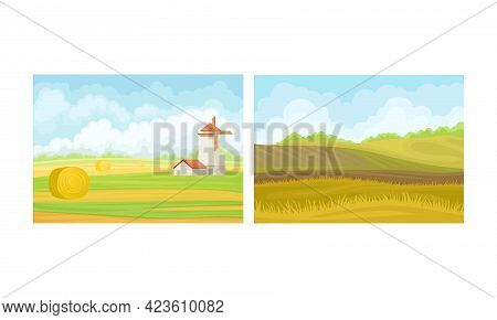 Country View With Sown Field, Windmill And Pasture Land As Green Landscape Vector Set