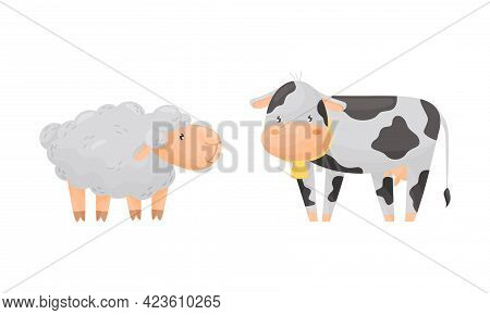 Fluffy Ram And Spotted Cow As Farm Animal Grazing Vector Set
