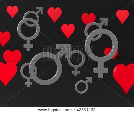 Background with Hearts and Gender Symbols