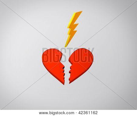 Broken heart and lightning