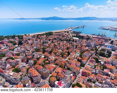 Aerial View Of City Of Burgas, View Of Burgas Bay And The Seaport Of Burgas, Bulgaria.